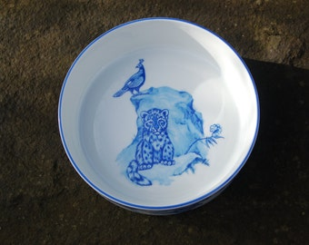 Lynn Chase Shangri-La Child's Bowl ~ Hand Signed & Dated (1993) in Golden Ink ~ Peacocks, Tigers, Rabbits and Deer ~  Excellent Condition