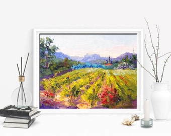 Art Commission, Original impressionist oil painting, Spring Vineyard waiting for the bees palette knife Landscape oil painting Made to Order