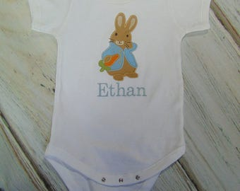 Onesie Girl or Boy Easter Bunny shirt--Personalized with name Bunny Baby one-piece-Take Home Outfit- Personalized Bunny for Boy or Girl