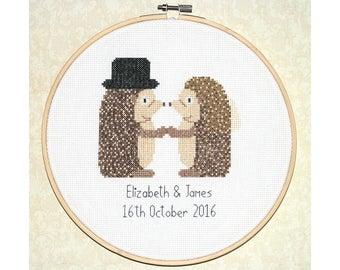 "Custom wedding cross stitch pattern: ""Hedgehog wedding"" - cross stitch pdf pattern, wedding anniversary gift, marriage cross stitch"