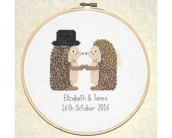Custom Wedding Cross Stitch Pattern Quot Hedgehog Wedding