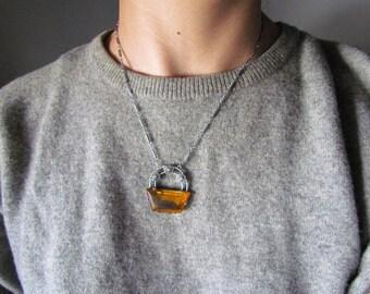 SALE-Antique Art Deco Filigree Glass Necklace c.1920s