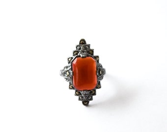 Antique Art Deco Ring With Carnelian Stone c.1920s