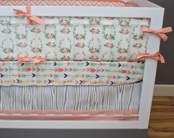 Floral Antlers Crib Bedding Girl, Woodland Nursery Bedding Set, Coral, Salmon, Mint, Blue, Deer, Woodland, Arrows, Aztec, Tribal Baby Girl
