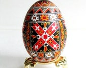religious gift for my beloved one Cross ornament Pysanka traditional Ukrainian Easter egg batik decorated chicken egg shell personalize it
