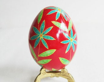Red Ukrainian Easter egg pysanka genuine shell hand painted with super thin pen filled with hot beeswax  personalize it with name