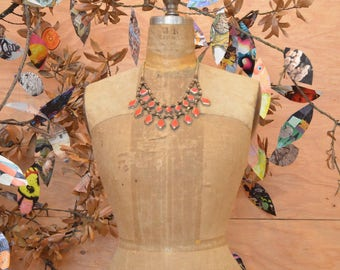 Vintage Stunning Brass Bib Necklace With Red Diamond Detail Bead Chain Size Large