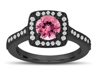 Vintage Style Pink Tourmaline Engagement Ring, Wedding Ring 1.28 Carat 14K Black Gold Halo Pave Certified Handmade