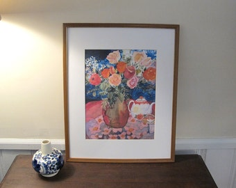 """Large Print Of Silk Painting """"Tea Room With Flowers"""" , In 16 x 20 in Mat , Ready To Be Framed"""