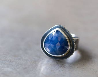 Rose Cut Sapphire Ring in Sterling Silver Cocktail Ring, Blue Sapphire Ring - Size 8 - Origins