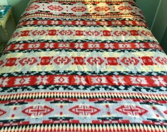 Vintage blanket Southwest pattern Cozy Soft rustic lodge Grey red yellow black 65 x 68