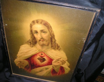Vintage Very Old  Sacred Heart Jesus.Framed Polychromed Picture/Print Divine Religious Wall Art
