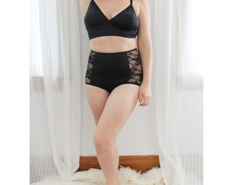Black Satin 'Noir' Longline Bralette and Satin and Lace High Waist Panties Lingerie Set Pin Up Handmade to Order