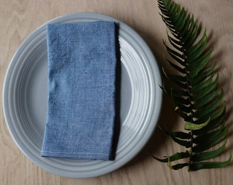 organic everyday cloth napkins / blue chambray / set of 2 / organic cotton/ linen / eco-friendly / reusable, sustainable, zero waste kitchen