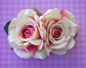 Beautiful double rose in pink and peach pin up retro 50s hairflower hairpiece wedding bride bridal