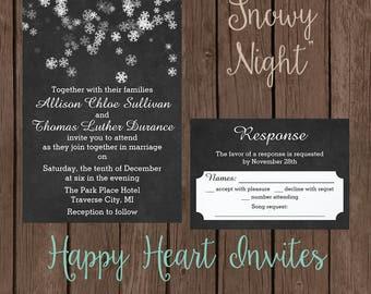Winter Wedding Invitation - Snowy Night - Customizable - 5x7 - Snowflakes - Black - White - Snow
