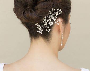 "Beaded Hairpiece, Beaded Bridal Hair Comb, Bridal Hairpiece, Freshwater Pearl Hairpiece, Bridal Hair Comb, Bridal Head Piece - ""Portia"""