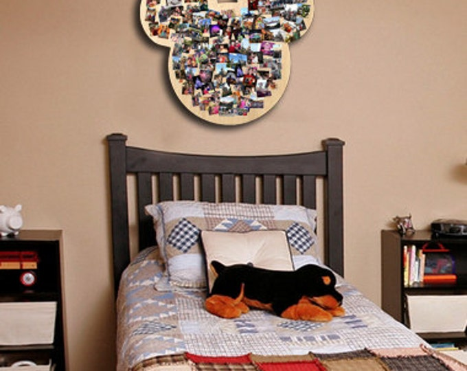 Mickey Mouse Ears Walt Disney WOOD CUTOUT  Real Wood Custom Nursery Decoration Collage  Disney Collage  Mosaic  18x22 inches Approximately