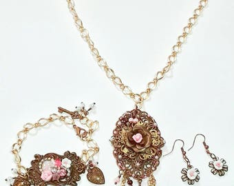 Long Chocolate brass with Pink Assemblage Necklace, Bracelet, Jewelry set