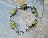 Green Garnet Bracelet, Natural Stone Bracelet, Green Bracelet, Rustic Bracelet, Boho Bracelet, Bohemian Bracelet, Spring Bracelet, For Her