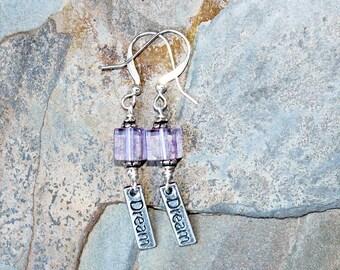 Amethyst Earrings, Dream Earrings, Message Earrings, Lavender Earrings, Dangly Earrings, Dream Jewelry, Purple Earrings, Stone Earrings