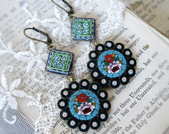 Byzantine Kaleidoscope, Vintage 1940s Italian Floral Turquoise Glass Micro Mosaic Vintage Assemblage Earrings by Hollywood Hillbilly