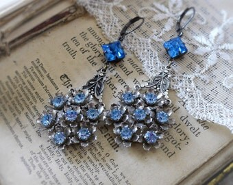 Sapphire Gardens,Vintage Light Blue Sapphire Rhinestone Flower,Blue Diamond Sapphire Blue Rhinestone Assemblage Earrings,Hollywood Hillbilly