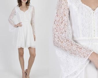 Boho Dress Prairie Dress Hippie Dress Lace Dress Vintage 70s Boho Wedding Dress Sheer White Floral Lace Bell Sleeve Hippie Mini Dress M