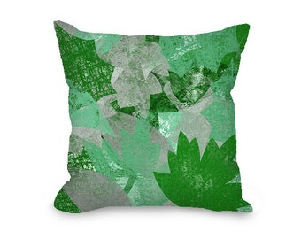 Green pillow covers, green pillow cover, Spring leaves, green and gray throw pillow cover, decorative pillow cover