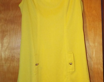 Vintage Yellow Cos Cob V Neck Sleeveless Crepe Shift Dress