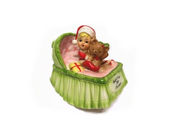 Vintage Musical Figurine, Musical Rocking Bassinet, 1981 Baby's First Christmas, Plays Noel, 80's Holiday Decor, Vintage Christmas Figurine