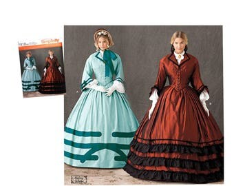 Civil War Gown Sewing Pattern, Civil War Fashion, Civil War Costume, Historical Costume, Theater Costume, Colonial Gown, Simplicity 1818,