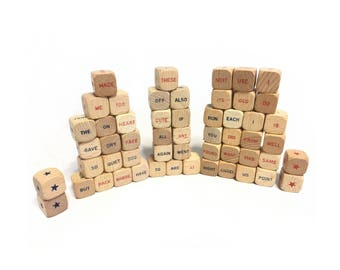 Vintage Sentence Cube Dice, Wooden Dice, Word Dice, Game Dice, Game Pieces, Altered Art Supplies, Mixed Media Supplies, Collage Supplies