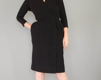Vintage 1950's Black Wool Dress with a Fur Collar