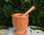 Spellwork  - Medium Vintage Pine Wood Mortar / Pestle - perfect for grinding up all your magickal herbs, roots and resins.