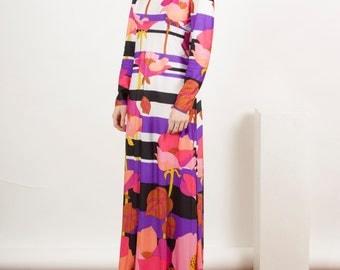 Multicolor long Sleeve Dress / Maxi 60s Dress / Summer Bold Dress