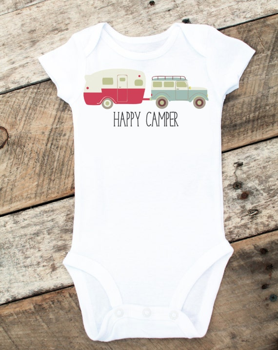 NEW Happy Camper Onesies®, Baby Boy Onesie, Camping, Baby Boy Clothes, Graphic Onesie, Baby Singlet, Retro Baby, Cute Baby Clothes, Photo