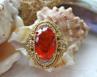 18k Mexican Fire Opal Ring w Diamonds 9.05g Size 6
