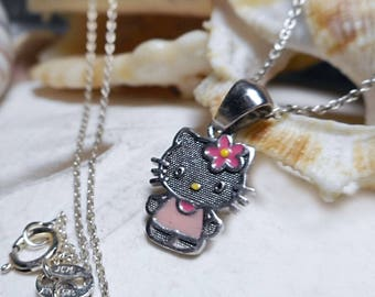 Sterling Silver Hello Kitty Necklace Sanrio w 20 inch Chain 1.91g