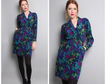 1980's Floral Silk Dress / Wrap Style Mini Dress / Long Sleeve / Small