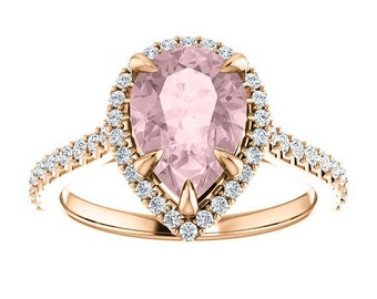 Pear Morganite Diamond Halo Engagement Five Claw Prongs