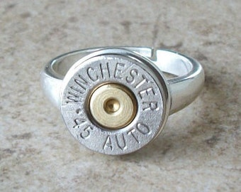 45 Auto Winchester Bullet Ring, Solid Adjustable Sterling Silver Ring Size 6 To 9, Two Tone Nickel and Brass, Great Gift Item - 450