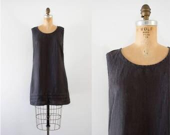 1990s Chiseled Slate linen mini dress / 90s Flax