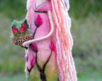 Fantasy doll Fairy Needle felted fairy Art doll Waldorf inspired doll Woolen Rose fairy doll Home decor
