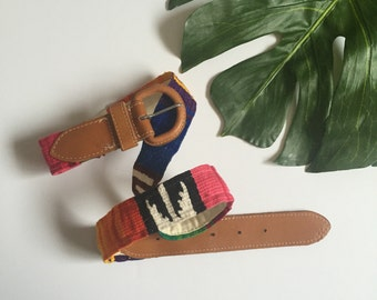 woven IKAT colorful Guatemalan leather buckle vintage 80s womens small belt 1980s indie hipster kitsch ethnic S M