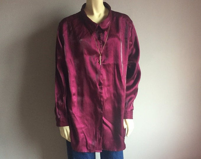 plus size MAROON//BURGUNDY long sleeve button up oxford collar shirt 90s vintage 20 XXL 3x wine colored oversized blouse womens minimalist