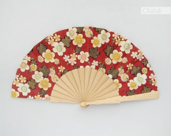 Kimono fabric beech tree wood hand fan with case - Sakura cherry blossoms on red - Spring accessory - shower hostess gift - menopause relief