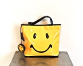 vintage smiley face tote purse - early 90s yellow/black patent leather smile purse w/ attached coin pouch