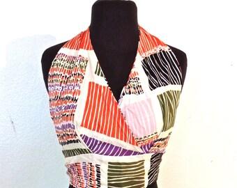vintage silk print halter top - 1960s-70s halter crop top