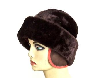 vintage brown faux fur hat - 1960s-70s men's aviator Russian-style hat w/ ear flaps